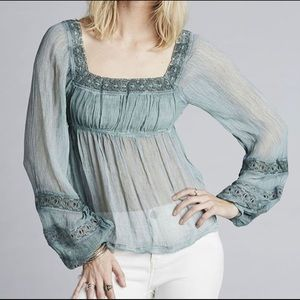 NWT Free People | Moonchaser Lace Trim Blouse M